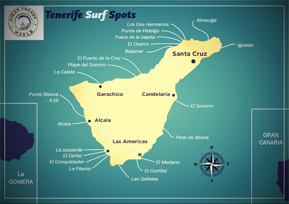 обзор мест для занятий серфингом на Тенерифе